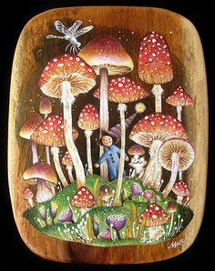 Babu & his kitten Abu: Mushroom Land I painted this artwork for my 2007 group art show, Bear and Bird Boutique + Gallery in South Florida, USA. Mushroom Drawing, Mushroom Art, Ecole Art, Fairytale Art, Plant Illustration, Fairy Land, Painted Rocks, Art Inspo, Illustrators