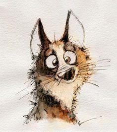 Dainius Sukys - - New Ideas Cute Animal Drawings, Cartoon Drawings, Cute Drawings, Drawing Sketches, Whimsical Art, Dog Art, Cute Art, Painting & Drawing, Watercolor Art