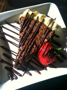 Jimmy Anderson's Casual Gourmet's Chocolate Chess Pie with strawberry and chocolate ganache