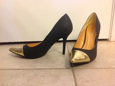 black gold tipped heels
