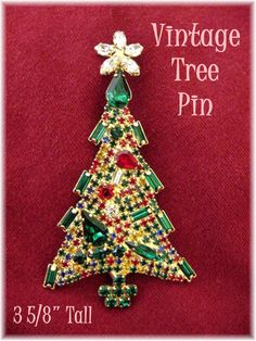 "Sparkling Vintage Rhinestone Christmas Tree Brooch Pin 3 5/8"" Tall Red & Green Bling"