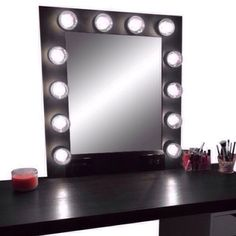 Our handmade vanity mirror in matte black is the perfect mirror to do your holiday makeup in! Available now in three different colors 💋 For more photos and pricing head over to our website (link in bio) ✨ Hollywood Vanity Mirror, Makeup Vanity Mirror, Custom Vanity, Vintage Marketplace, Beauty Shop, Best Gifts, Mua Makeup, Hair Makeup, Matte Black