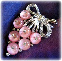 Love this!!  Vintage Crown Trifari Pink Shoe Button Grapes Fur Clip - Book Piece