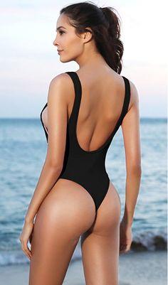 3de67d61ca18 SHEKINI Halter Thong Bikini Donna Un Pezzo Costume da Bagno Intero  Brasiliana High Cut Bodysuit Perizoma Costumi Interi V Neck Monokini Beach  Swimsuit Sexy ...