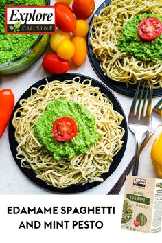 Try this simple yet delicious Edamame Spaghetti with Mint Coriander Pesto recipe for dinner! It's made with vegan pasta, and uses creamy pesto sauce garnished with tomatoes to ensure the perfect quick and easy healthy dinner recipe. #easypastarecipes #vegandinnerideas #pestopasta Vegan Pasta, Pesto Pasta, Easy Pasta Recipes, Healthy Dinner Recipes, Edamame Spaghetti, Creamy Pesto Sauce, Pesto Recipe, Vegan Dinners, Plant Based Recipes