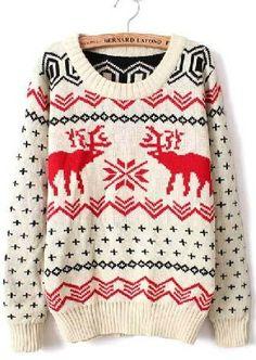 Beige Long Sleeve Deer Print Loose Pullovers Sweater - Sheinside.com