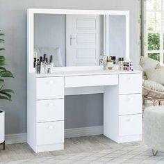 Latitude Run® Nummari Boahaus Matilda Vanity with Mirror & Reviews | Wayfair Vanity Room, Wood Vanity, Closet Vanity, Vanity Cabinet, Modern Vanity Table, Modern Makeup Vanity, Makeup Vanities, White Makeup Vanity, Vanity Table Set