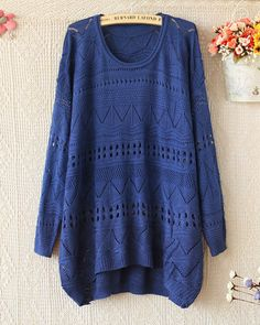 $25.00 | Loose round neck long-sleeved sweater hollow