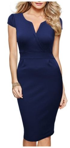 Women's Classical V Neck Pencil Dress                                                                                                                                                      Más