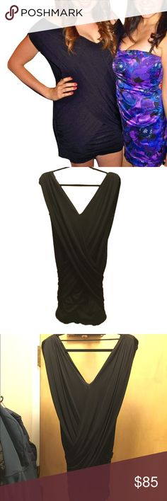 BCBG Black Wrap Dress Black dress by BCBG Max Azria. Fitted sheath with wrap-style around creates a fitted flattering look. Off the shoulder fit with strap across the back to hold shoulder straps up! Size medium. Fits sizes 4-6. BCBGMaxAzria Dresses Mini