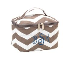 Monogrammed Taupe Chevron Mini Cosmetic Bag $29.99! #SouthernFriedChics