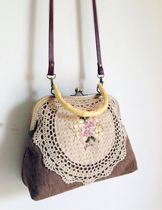 Khaki Embroider Vintage style Metal frame purse/coin by hitomigift