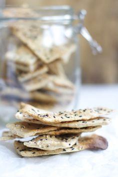Home made crispbread with sesame seeds
