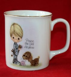 Enesco Japan Mug Coffee Tea Cup Precious Moments Praise the Lord Anyhow 1978 VGC