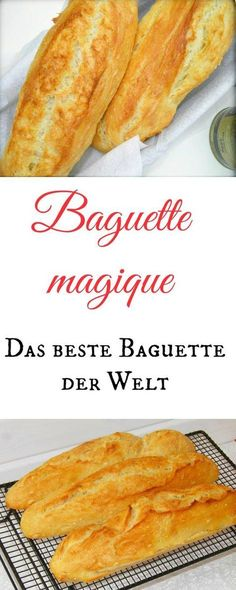 The best baguette in the world is called Baguette Magique and is made in a few minutes (with or without Thermomix). It should go a bit, so it really becomes the world& best baguette. Yummy Recipes, Yummy Food, Bread Recipes, Pan Relleno, Vegan Bread, Bread Baking, Grilling Recipes, Food Inspiration, Love Food