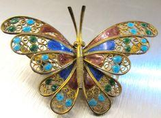 Enamel Butterfly Brooch, Vintage Figural Enamel Filigree Butterfly Jewelry, Multi Color Enamel Silver Vermeil Butterfly Brooch