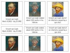 A020: VAN GOGH (facts about) (3 part cards) (3pgs) - laminated edges / NO printed edges (borders)