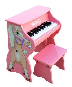 This versatile piano grows with budding musicians! The main unit sits securely on the ground or tabletop for easy reach, then as little ones get bigger, the side panels can be attached to bring the piano to an appropriate height. The width of the 25 keys promotes proper finger placement, allowing for an easy transition to larger pianos, while the chime-like notes produced by small hammers striking steel rods have a unique, unmistakable tonal quality. Paired with the Schoenhut Learning…
