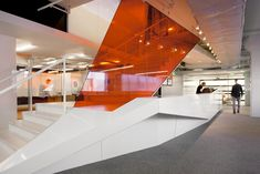 Office & Workspace: Reflective Orange White Interior Design And Modern Staircase., - Office & Workspace: Reflective Orange White Interior Design And Modern Staircase…, - Corporate Office Design, Modern Office Design, Corporate Interiors, Office Interiors, Interior Office, Modern Staircase, Staircase Design, White Staircase, White Interior Design