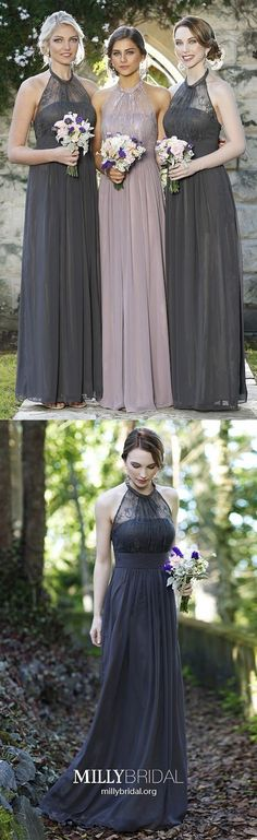 Long Bridesmaid Dresses Gray, A-line Prom Dresses For Teens, Halter Formal Evening Dresses Lace, Chiffon Wedding Party Dresses Sleeveless Spring Formal Dresses, Modest Formal Dresses, Elegant Prom Dresses, Women's Evening Dresses, Wedding Dresses, Bridal Gowns, Beautiful Dresses, Bridesmaid Dresses Online, Prom Dresses For Teens