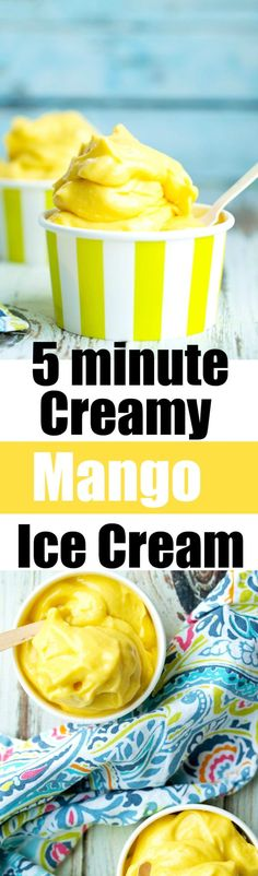 This creamy mango ice cream is ready in 5 minutes and is made with 4 simple healthy ingredients Dairyfree vegan ice cream recipe Mini Desserts, Frozen Desserts, Healthy Desserts, Delicious Desserts, Dessert Recipes, Yummy Food, Frozen Treats, Healthy Recipes, Mango Recipes
