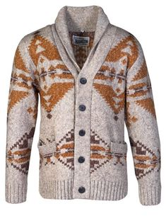 Schott N. Men's Motif Cardigan Heavyweight Heathered triple blend motif cardigan features button front closure, two lower pockets, shawl collar and Southwestern inspired motif. Aztec Sweater, Sweater Cardigan, Men Sweater, Cardigan Design, Steampunk Top Hat, Steampunk Fashion, Couture, Mens Fashion, Gothic Fashion