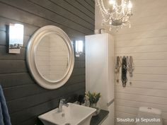 panelointi wc Decor, Furniture, Bathroom Lighting, Lighted Bathroom Mirror, Bathroom Toilets, Home Decor, Bathroom Mirror, Round Mirror Bathroom, Mirror