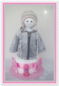 Windeltorte Pink/rosa/grau Windeltorte Von Geschenke Eckle Auf DaWanda.com