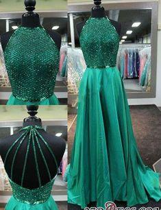 Halter-Neck Dark-Green Amazing Net-Design-Top Long Prom Dresses BA4331_High Quality Wedding Dresses, Prom Dresses, Evening Dresses, Bridesmaid Dresses, Homecoming Dress - 27DRESS.COM