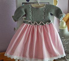 Tutorial vestido con cuerpo de jersey de punto con volante punto y falda de tela ( || parte)