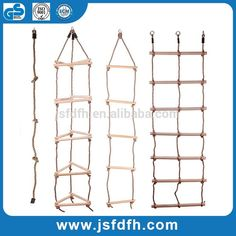 Direct Factory Outlets Outdoor Rope Climbing Ladder Safety Antifire Wooden Climb Ladder For Kids