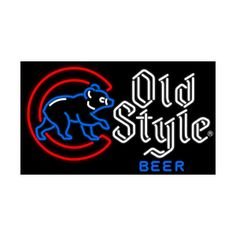 Old Style Beer Chicago Cubs - Neon Beer Signs found on Polyvore