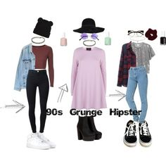 90s Grunge/Hipster by stellaluna899 on Polyvore featuring AX Paris, Monki, Topshop, Levi's, J Brand, NIKE, Vans, Miss Selfridge and Essie