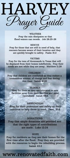Harvey Prayer Guide : Lifting Up Those Affected By the Flood - Renovated Faith Scripture Verses, Bible Scriptures, Daily Scripture, Prayer For My Family, Prayer Changes Things, Biblical Inspiration, Christian Encouragement, Power Of Prayer, Daily Prayer