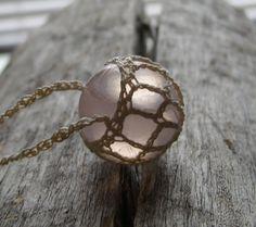 Rose Quartz Necklace  Pendant  Sphere by TheTreeFolkHollow on Etsy, $22.00
