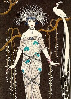 ART DECO Woman Print with Feathers Hair and White Peacock by Barbier. $7.50, via…