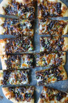 Caramelized Balsamic Onion and Gruyere Pizza; this is a delicious recipe; I changed it up by using Puffed pastry instead of Pizza dough.  they make wonderful party appetizers.