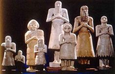 These little statues were put into Sumerian temples as a replacement for worshippers who were busy going about their lives. Ancient Near East, Ancient Art, Ancient History, Art History, Ancient Mesopotamia, Ancient Civilizations, Sumerian King List, Statues, Ancient Egypt