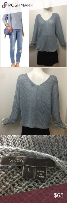 """Vince stone washed Linen knit dolman sweater Fabulous slouchy light blue stonewashed loose knit dolman sweater.   MEASUREMENTS Shoulders: 24"""" Chest: 21"""" Waist: 19"""" Length: 25""""   •• c1 As always I follow all Postmark rules.  No offline transactions, Everything is Authentic and I do not trades. I do take offers, but please make all offers through the offer button - lots of love girls Vince Sweaters V-Necks"""