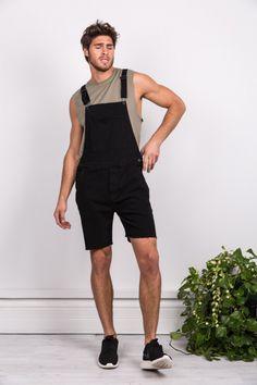 a99aa2eabd1e Summer Fashion Mens Rompers Denim Rompers Men s Short Sleeve Jumpsuit Male  Cool Harem Short bib Pants Overalls Hip Hop Str…