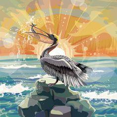 #ocean #pelican #illustartion #graphic #design #sun Sansa, Serif, Helsinki, Blur, Ocean, Illustrations, Graphic Design, Abstract, Artwork