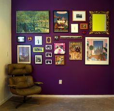 Love the deep purple + eclectic salon art wall (BM Passion Plum)