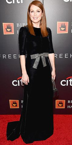 Julianne Moore in a black Saint Laurent dress