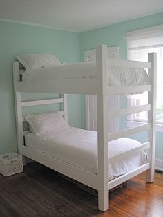 #DIY bunk beds for $180, with built in ladder and designed to be broken down easily.