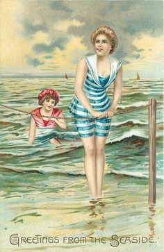 """Greetings from the Seaside"".... woman on beach in striped blue/white bathing-suit holds rope with both hands, another in sea behind"