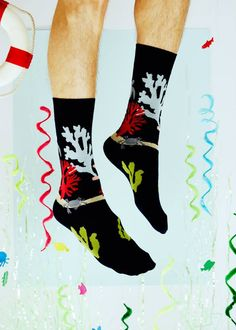 FEAT. sock co.'s navy sea life sock. Part of their Winter 2015 collection. Available at: featsockco.com/shop/