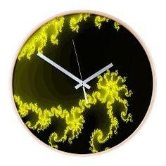 fraktal yellow, black Wall Clock > abstract/colorful/fractal > MehrFarbeimLeben