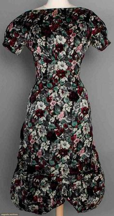 Galanos Chine Print Dress, Late 1950s. For upcoming vintage and antique fashion auction.