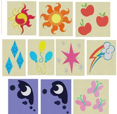 10 designs Cutie Marks My Little Pony 2 sizes: 4, 2.5 Digital files in zips: pes, hus, jef. THE FILES ARE NOT FOR RESALE ! Colours 2-4 4x4 hoop