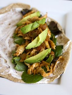 Mexican Pulled Chicken  -     This is even better BBQ style! Add a little beer when sautéing the onions, then bbq sauce, a little chili powder and cilantro instead of the spices, salsa and lime. After cooled, add diced tomatoes and use in a quesadilla with mexican cheese and corn guacamole. Delicious!!!